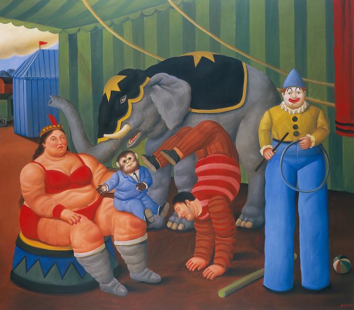 Fernando Botero_Gente del circo con elefante, 2007_oleo sobre lienzo