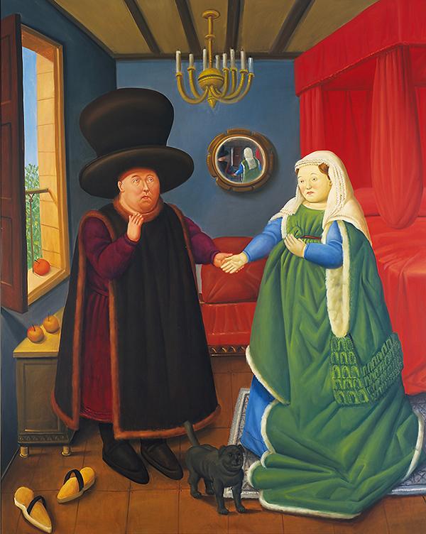 Fernando Botero_The Arnolfini según Van Eyck, 2006_oleo sobre lienzo lien